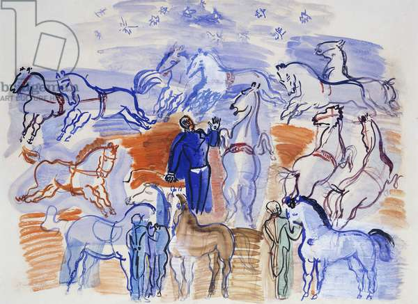 Circus Horses; Chevaux au Cirque,  (watercolour, coloured crayon and gouache on paper)