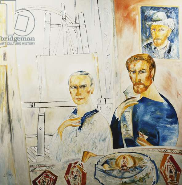 Patrick Caulfield and John Hoyland, 1985 (oil on canvas)
