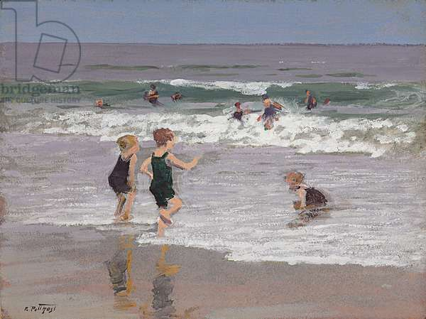 Children Playing in Surf  (oil on board)