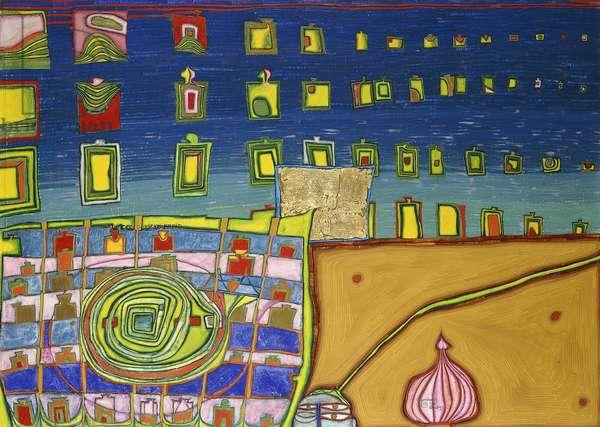 Heimweh der Fenster-Heimweh ins Meer, 1964 (watercolour, egg tempera, oil and goldleaf on paper mounted on c)