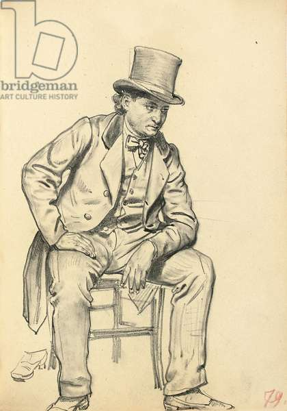 Seated Man, Arm Leaning on His Leg, c. 1872-1875 (pencil on paper)
