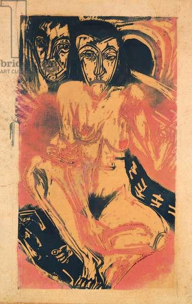 Melancholy Girl (woodcut)
