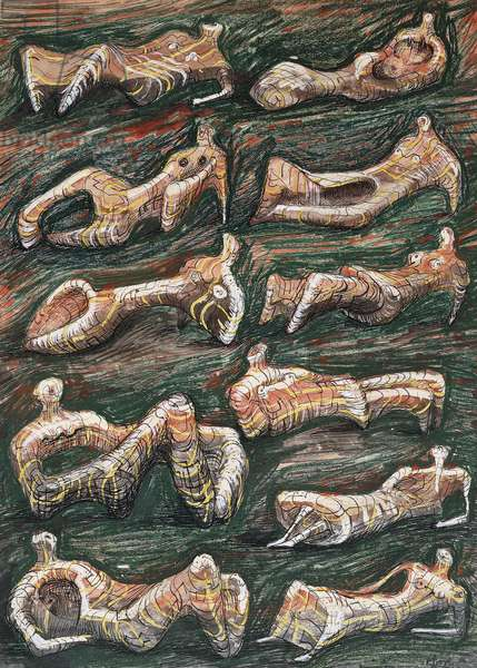 Reclining Figures, 1946 (watercolour, wax crayon, pen and black ink heightened with white)