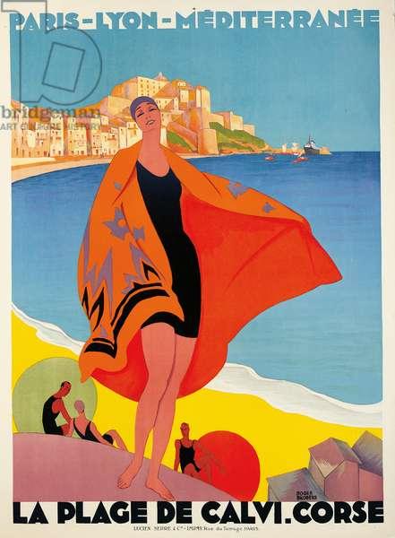La Plage de Calvi, Corse, 1928 (colour litho)