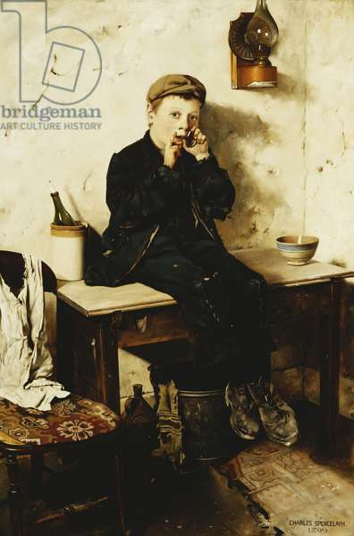 A Boy Seated on a Table, Playing a Jew's Harp, 1899 (oil on canvas)