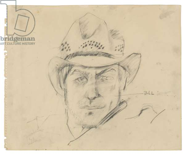 de Kooning with My Texas Hat, c.1963 (graphite on paper)
