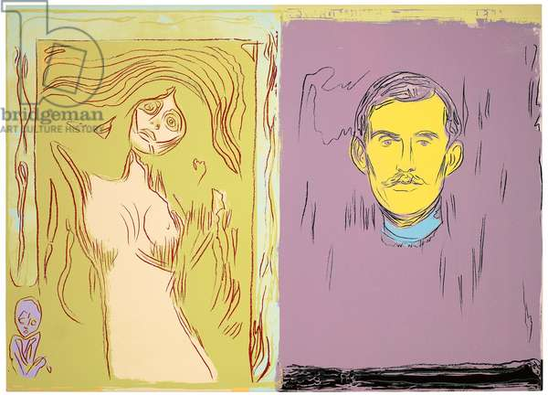 Madonna and Self-Portrait with Skeleton's Arm (After Munch), 1984 (acrylic and silkscreen ink on canvas)
