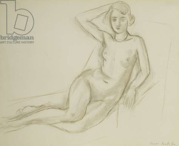 Nude Sitting on a Reclining Chair; Nu Assis sur une Chaise Longue, 1918 (conte crayon on paper)