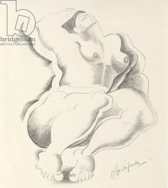 Reclining Female Nude, 1920 (pencil on paper)