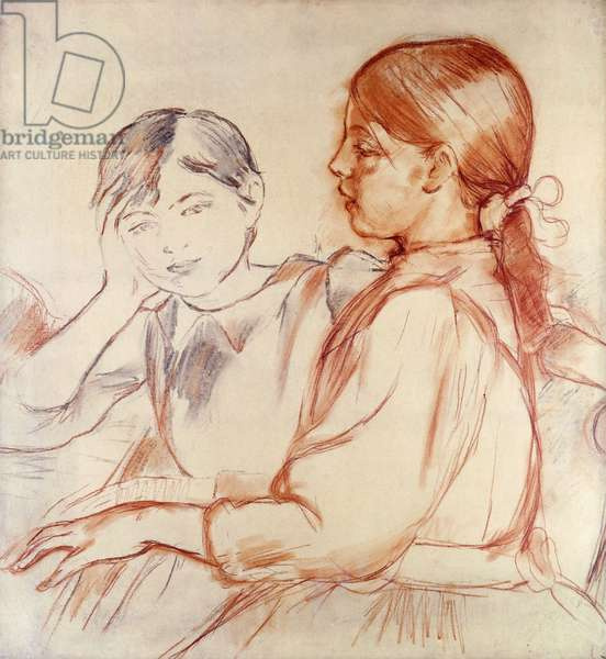 Julie Manet and Jeannie Gobillard at the Piano; Julie Manet et Jeannie Gobillard au Piano, 1887-88 (red chalk and soft pencil on tracing paper)