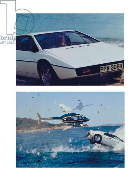 Stills from the film 'The Spy Who Loved Me', showing the Lotus Esprit used by Roger Moore as James Bond, 1977 (photo)