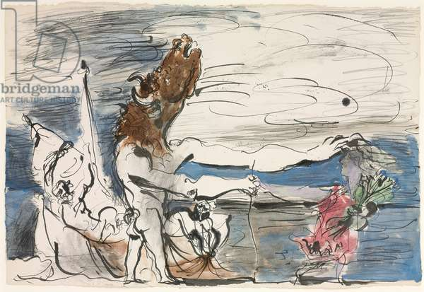 Blinded minotaur led by a little girl, 1934 (gouache, w/c, brush & ink and pencil on paper)