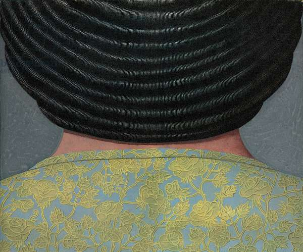 Female Bust from the Back, 1965 (acrylic & sand on canvas)