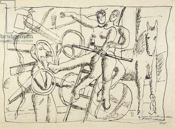 The Juggler and the Trapeze Artists; Le Jongleur et les Trapezistes, 1945 (brush and ink on paper)