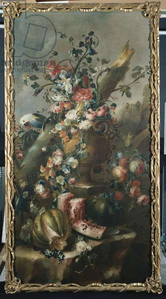Flowers in a Sculpted Urn, with Melons and Parrot (oil on canvas)