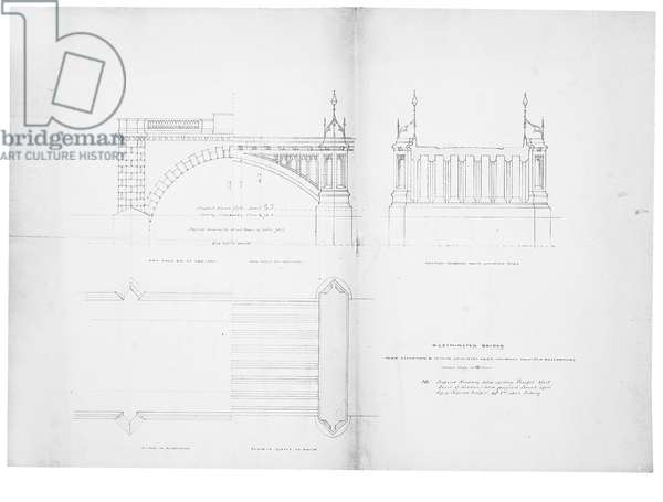 Design and elevation for Westminster Bridge, 1844 (pencil on paper)