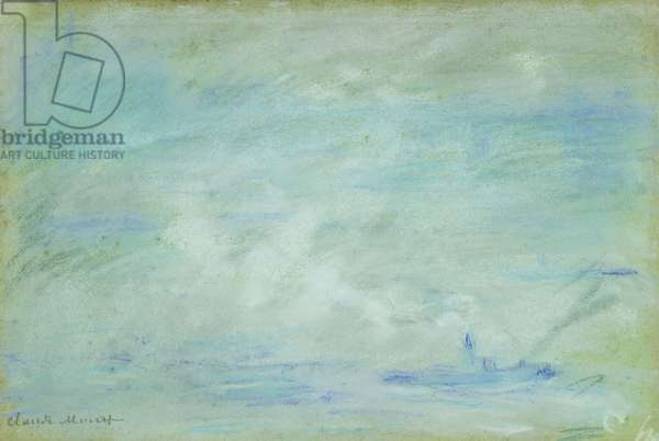 Boat on the Thames, haze effect; Bateau sur la Tamise, effet de brume, 1901 (pastel on paper)