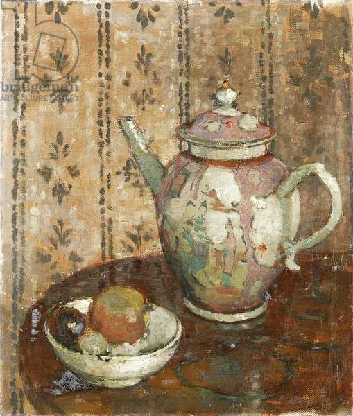 An Oriental Tea Pot and a Bowl of Fruit, (oil on canvas)