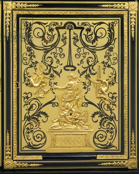 A Louis XIV  bibliotheque basse, c.1700 (ormolu-mounted ebony, ebonized wood, brass, simulated tortoiseshell & boulle marquetry)