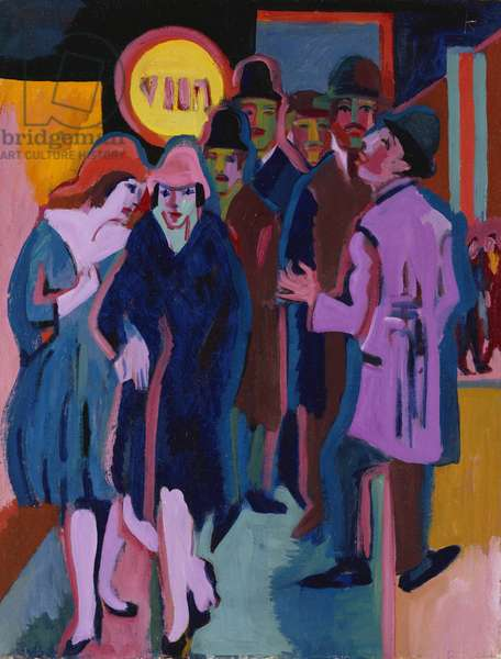A Night-time Street Scene, 1925 (oil on canvas)