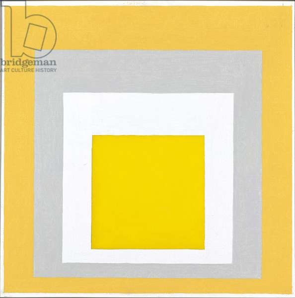 Homage to the Square: 2 Whites Between 2 Yellows, 1961 (oil on masonite)