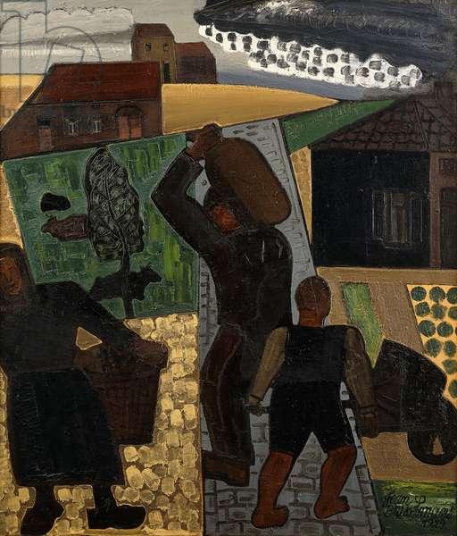 Returning Home from Work; Retour du Travail - Terugkeer na het Werk, 1929 (oil on canvas)