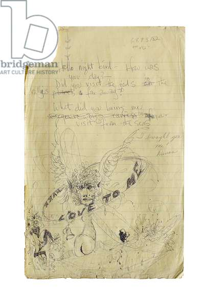 Page of preliminary working lyrics, c.1970 (ballpoint pen on paper)