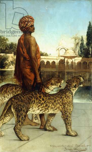 The Palace Guard with Two Leopards,  (oil on canvas)