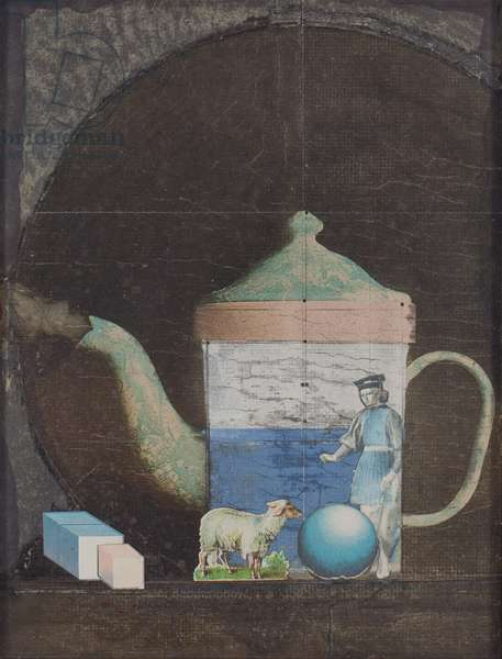 Teapot, c.1960 (graphite, gouache, coloured pencil, and printed paper collage on board)