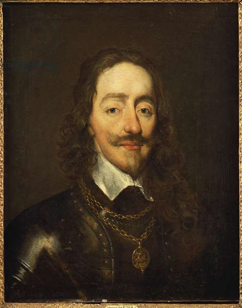 Portrait of King Charles I wearing Armour and the Collage of the Order of the Garter (oil on canvas)