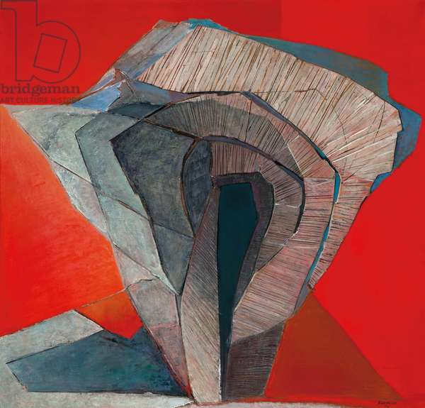 Wila, 1972 (oil, wood, burlap & paper on canvas)