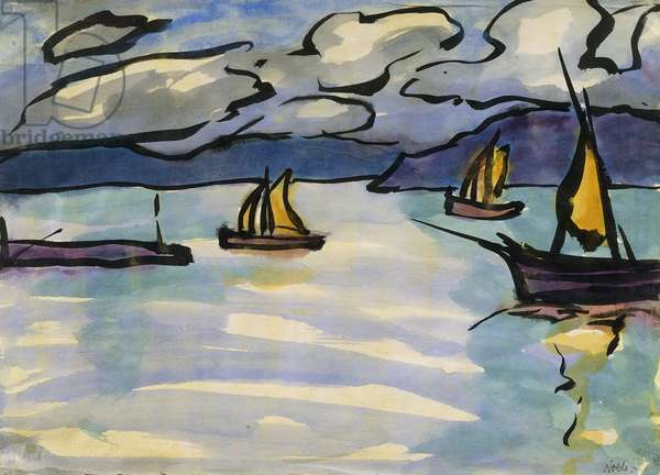Sailing Boats in the Fjord; Segelschiffe in Fjord, (watercolour, brush and black ink on paper)