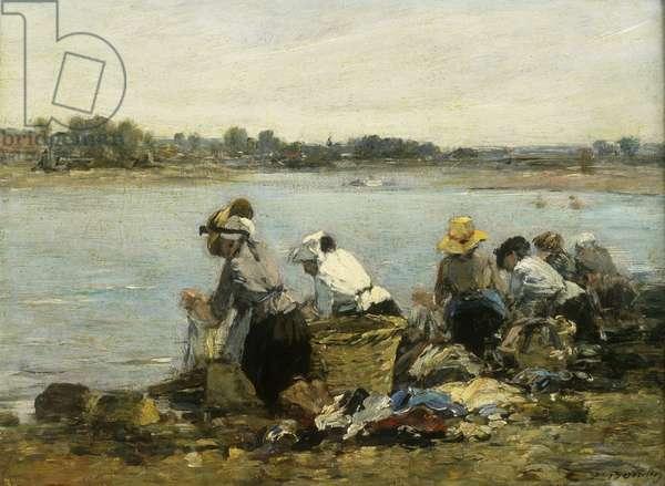 Washerwomen at la Torque; Les Lavandieres a la Touque, (oil on panel)