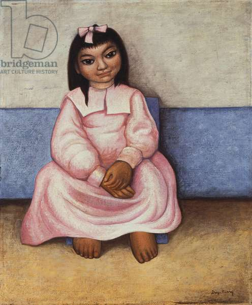 Girl with Pink Dress,  (oil on canvas)