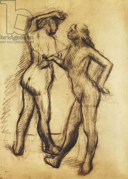 Nude Study (Two Women Standing); Etude de Nu (Deux Femmes Debout),  (black chalk on paper laid down on cardboard)