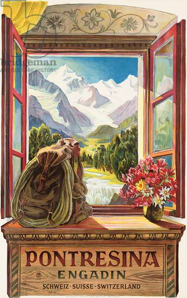 Advertising poster for Pontresina, Switzerland, 1952 (colour lithograph)