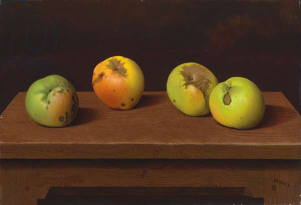 Apples on a table I, 1953 (tempera on board laid on panel)
