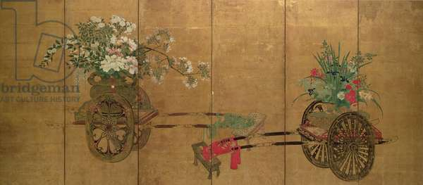 Red seal six-leaf screen, Edo Period, late 18th - early 19th century, Japanese
