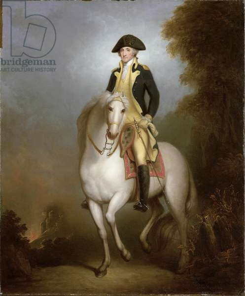Equestrian portrait of George Washington (oil on paper laid down on board)