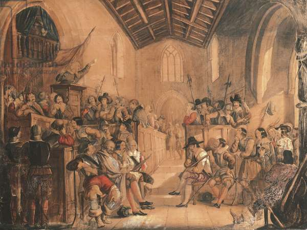 A Roundhead Conventicle: a scene from 'Peveril of the Peak' by Sir Walter Scott, 1841 (pencil, w/c & oil on paper)