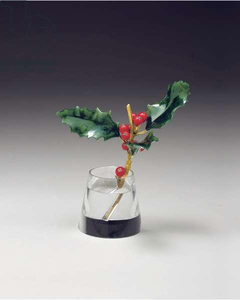 Holly spray in a tapering vase, c.1890 (gold, enamel, nephrite & rock crystal)