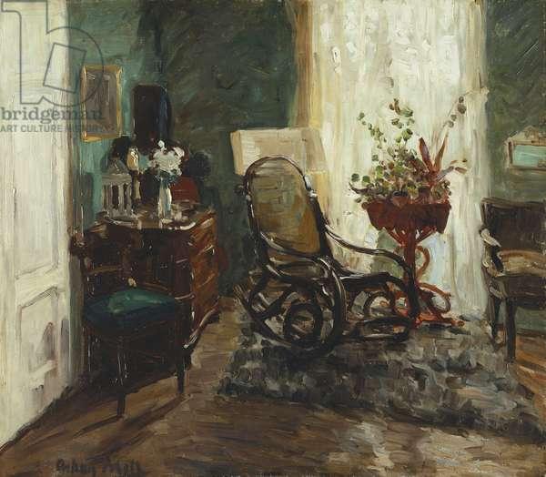 Interior with Rocking Chair; Interieur mit Schaukelstuhl, (oil on canvas)