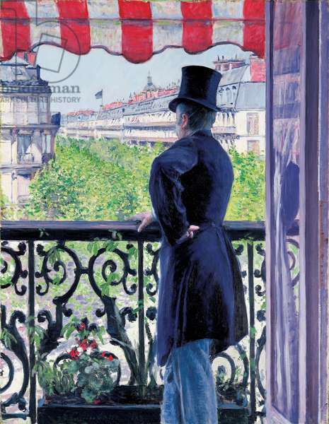 Man on a balcony, Boulevard Haussmann, 1880 (oil on canvas)