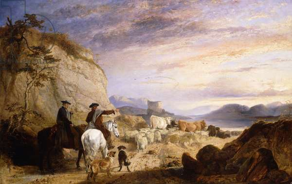Highland Drovers and Dogs Driving their Sheep and Cattle in a Rocky Wooded Landscape, 1846 (oil on canvas)