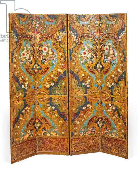 Polychrome decorated four-fold screen (leather)