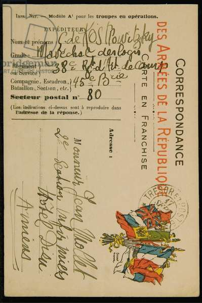 Autograph postcard to Jean Mollet, dated 16 September 1915 (pen & ink on postcard) (see also 2909393)