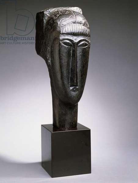 Head of a Woman with a Fringe; Tete de Femme a la Frange, 1912 (bronze with black patina)