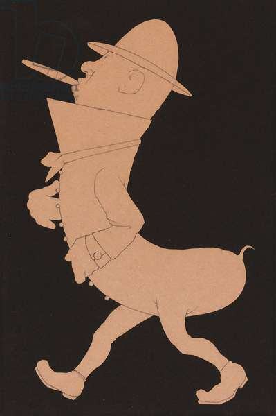 Mr. Pickle, 1911 (pencil on cut paper affixed to cardboard)