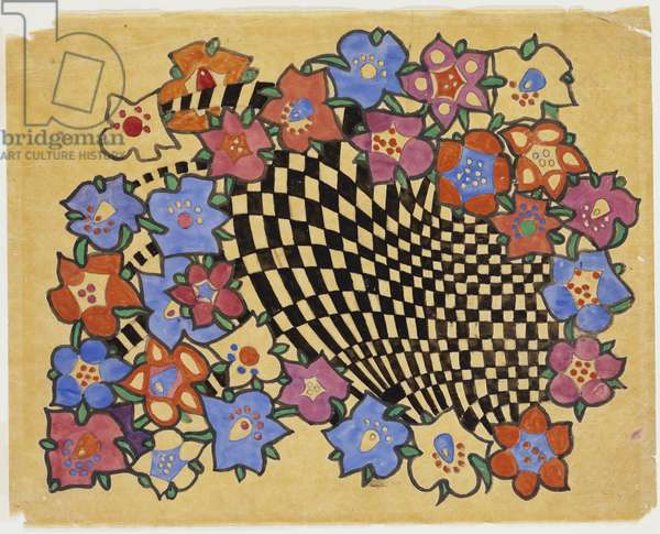 Floral and chequered fabric design, c.1916 (pencil & bodycolour on tracing paper)