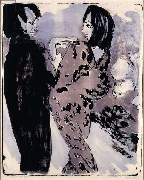 Young Couple, 1913 (lithograph printed in black, purple and light blue on Japan pape)